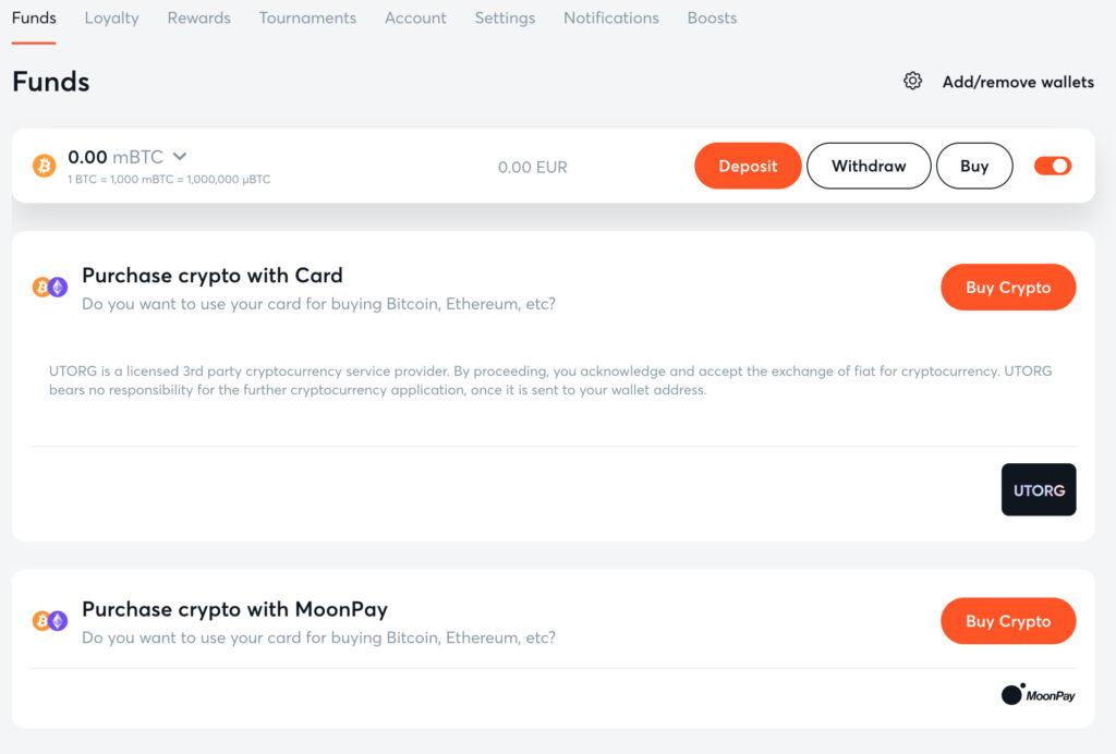 bitcasinoの仮想通貨購入画面